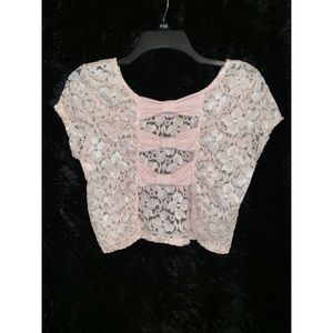 NWOT Charlotte Russe Pink Lace Crop Top